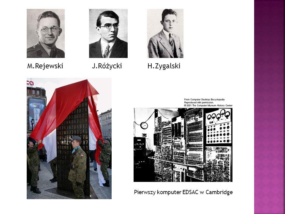 M.RejewskiJ.RóżyckiH.Zygalski Pierwszy komputer EDSAC w Cambridge