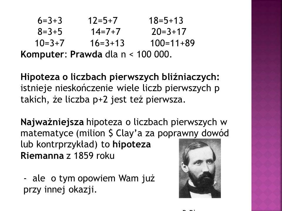 6=3+3 12=5+7 18=5+13 8=3+5 14=7+7 20=3+17 10=3+7 16=3+13 100=11+89 Komputer: Prawda dla n < 100 000. Hipoteza o liczbach pierwszych bliźniaczych: istn