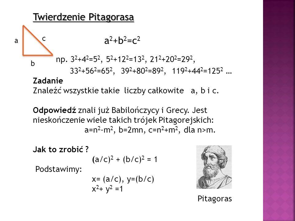 Twierdzenie Pitagorasa a 2 +b 2 =c 2 np. 3 2 +4 2 =5 2, 5 2 +12 2 =13 2, 21 2 +20 2 =29 2, 33 2 +56 2 =65 2, 39 2 +80 2 =89 2, 119 2 +44 2 =125 2 … Za