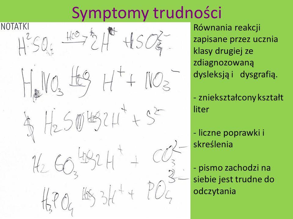 Równania reakcji zapisane przez ucznia klasy drugiej ze zdiagnozowaną dysleksją i dysgrafią. - zniekształcony kształt liter - liczne poprawki i skreśl
