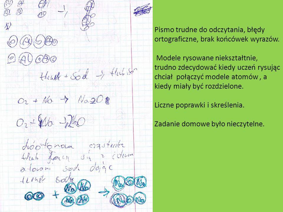 Pismo trudne do odczytania, błędy ortograficzne, brak końcówek wyrazów. Modele rysowane niekształtnie, trudno zdecydować kiedy uczeń rysując chciał po