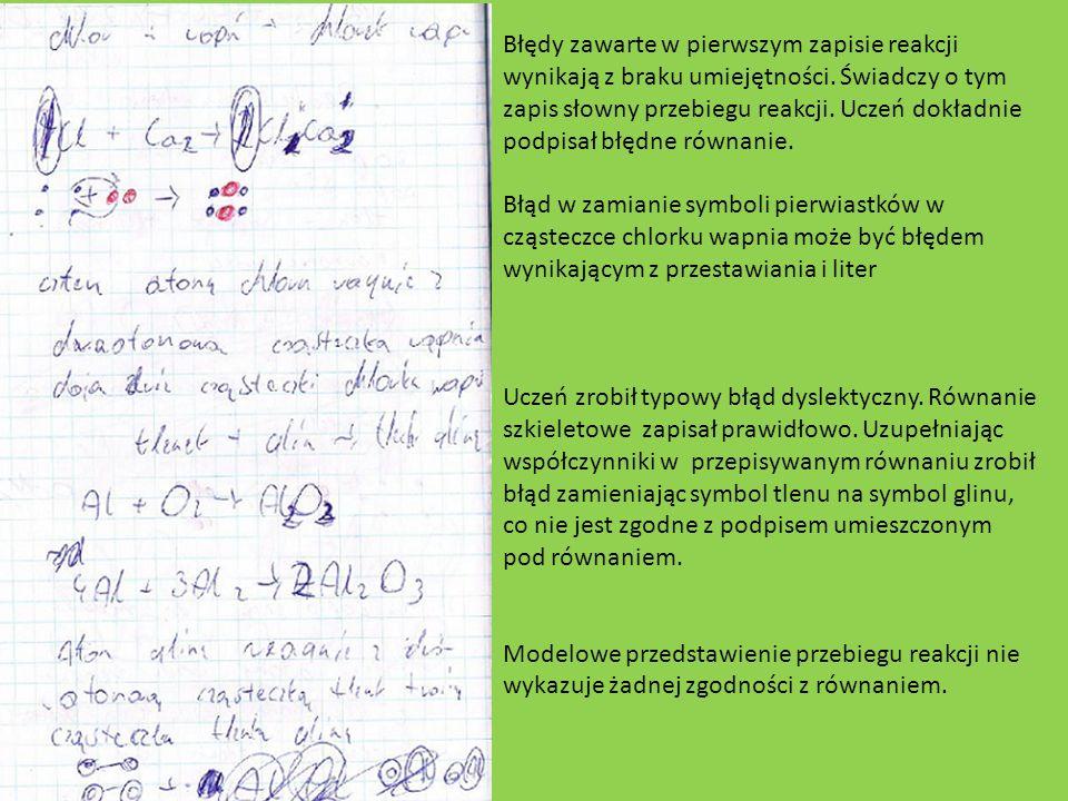Błędy zawarte w pierwszym zapisie reakcji wynikają z braku umiejętności. Świadczy o tym zapis słowny przebiegu reakcji. Uczeń dokładnie podpisał błędn