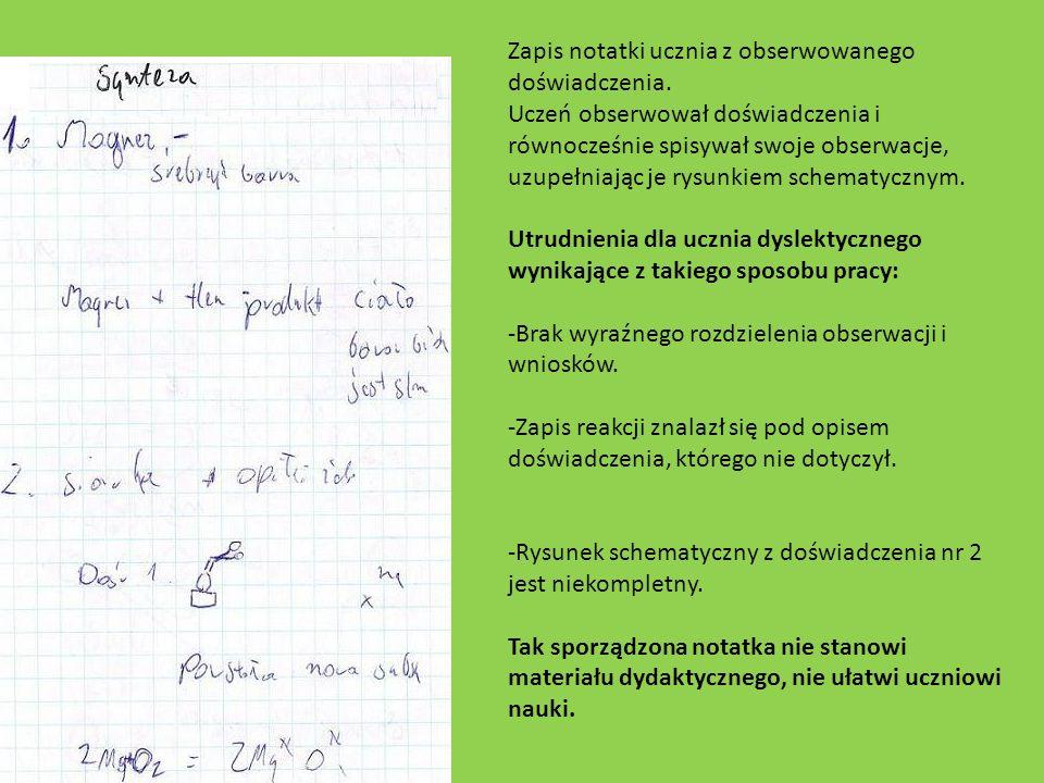 Zapis notatki ucznia z obserwowanego doświadczenia. Uczeń obserwował doświadczenia i równocześnie spisywał swoje obserwacje, uzupełniając je rysunkiem
