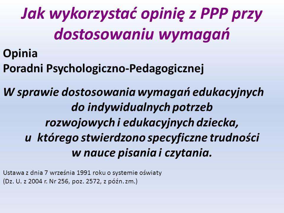 Jak wykorzystać opinię z PPP przy dostosowaniu wymagań Opinia Poradni Psychologiczno-Pedagogicznej W sprawie dostosowania wymagań edukacyjnych do indy