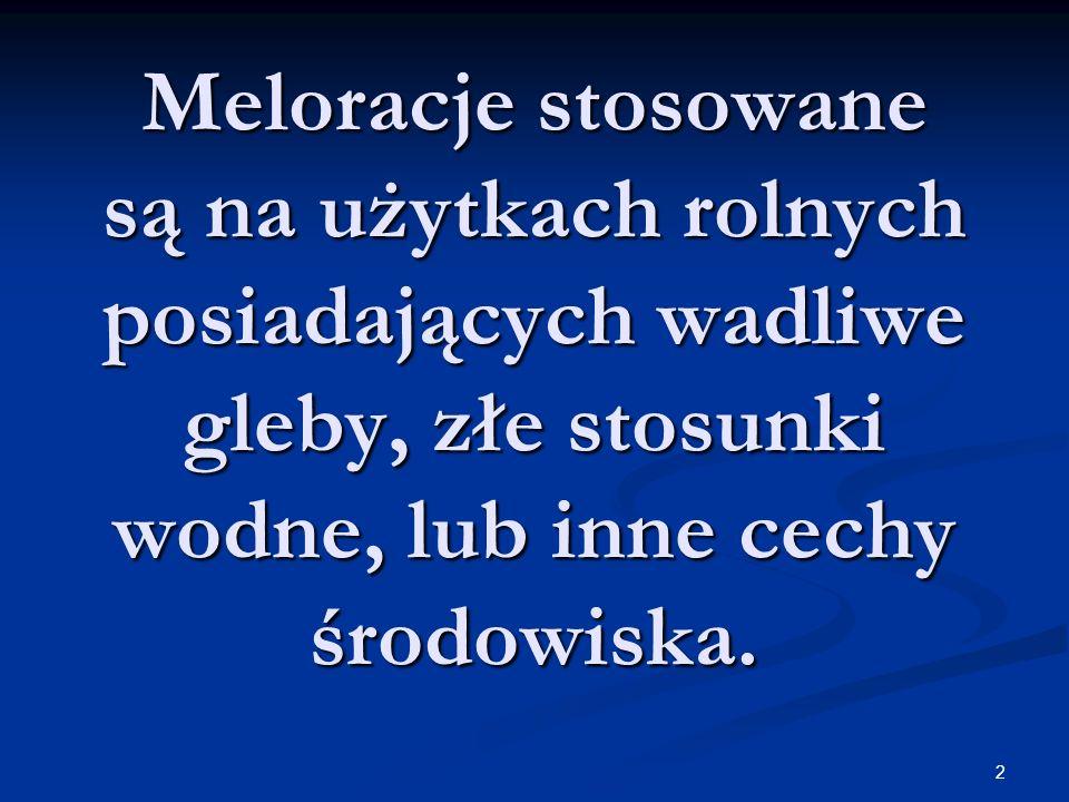3 Rodzaje melioracji: Melioracje wodne Agromelioracje Fitomelioracje Melioracje przeciwerozyjne