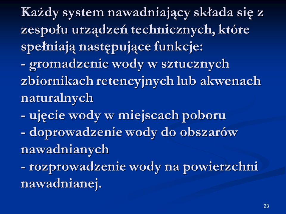 23 Każdy system nawadniający składa się z zespołu urządzeń technicznych, które spełniają następujące funkcje: - gromadzenie wody w sztucznych zbiornik