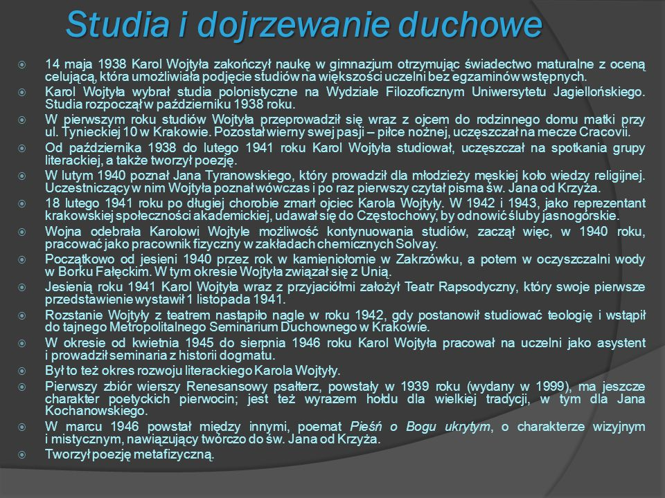 Kapłaństwo, praca naukowa i twórcza 13 października 1946 roku alumn Metropolitalnego Seminarium Duchownego w Krakowie, Karol Wojtyła, został subdiakonem, a tydzień później diakonem.