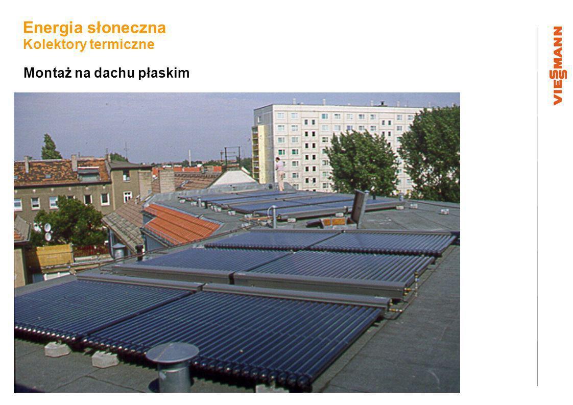 Montaż na dachu płaskim Energia słoneczna Kolektory termiczne