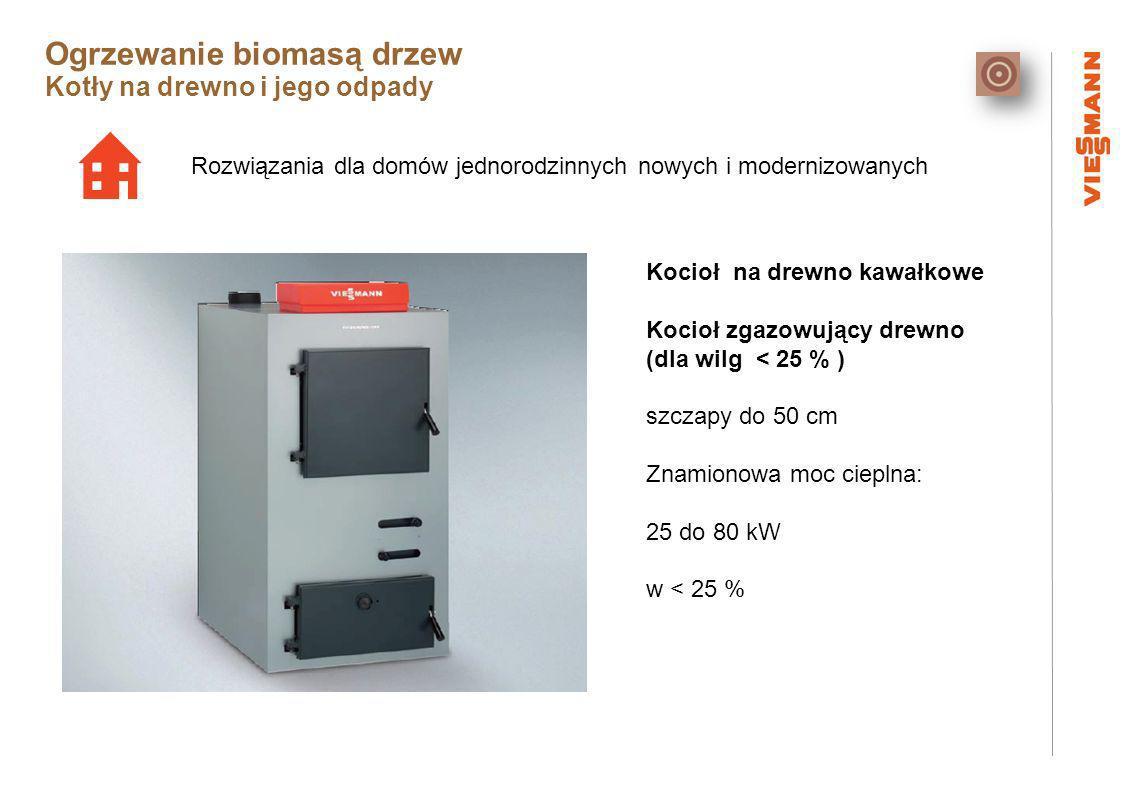 Rozwiązania dla domów jednorodzinnych nowych i modernizowanych Kocioł na drewno kawałkowe Kocioł zgazowujący drewno (dla wilg < 25 % ) szczapy do 50 cm Znamionowa moc cieplna: 25 do 80 kW w < 25 % Ogrzewanie biomasą drzew Kotły na drewno i jego odpady