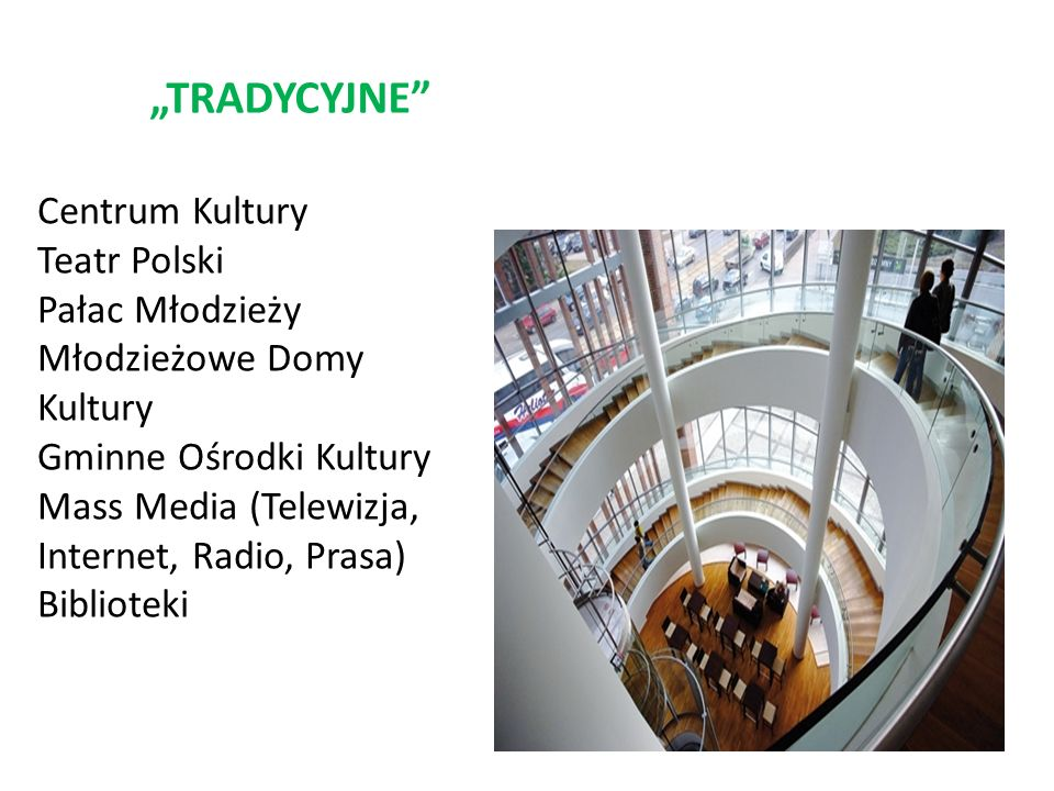 TRADYCYJNE Centrum Kultury Teatr Polski Pałac Młodzieży Młodzieżowe Domy Kultury Gminne Ośrodki Kultury Mass Media (Telewizja, Internet, Radio, Prasa) Biblioteki