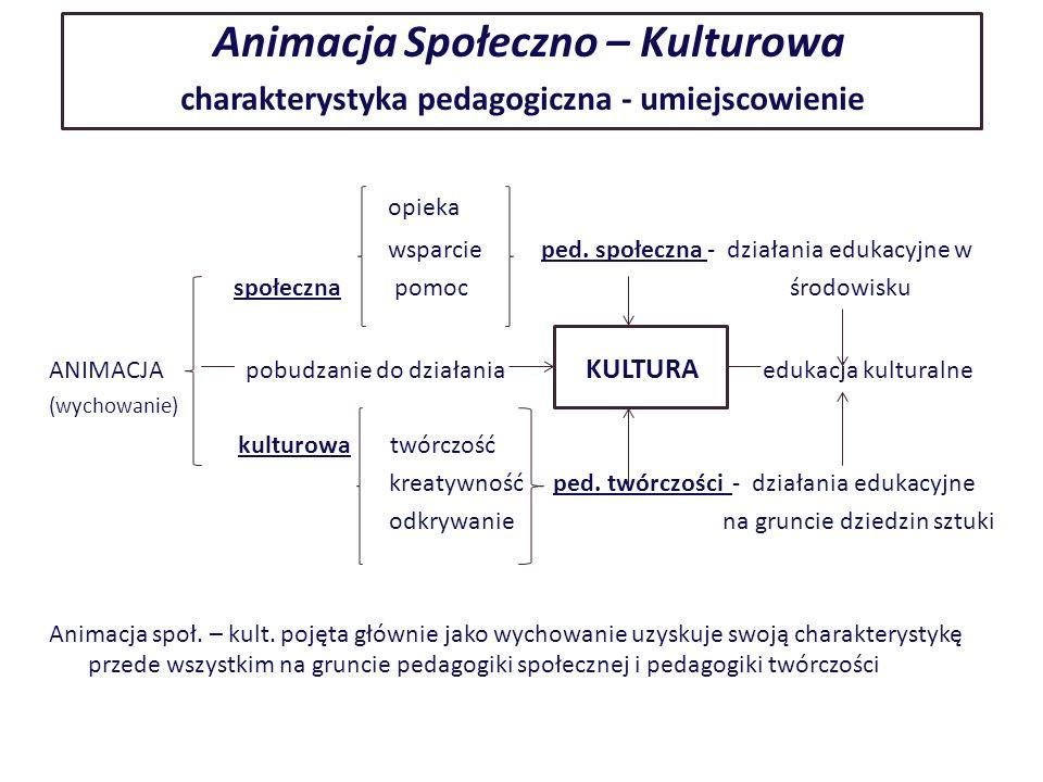 Animacja Społeczno – Kulturowa charakterystyka pedagogiczna - umiejscowienie opieka wsparcie ped.