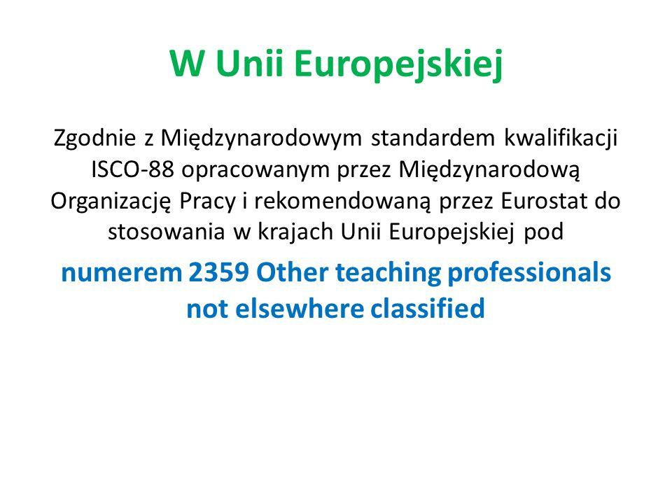 W Unii Europejskiej Zgodnie z Międzynarodowym standardem kwalifikacji ISCO-88 opracowanym przez Międzynarodową Organizację Pracy i rekomendowaną przez Eurostat do stosowania w krajach Unii Europejskiej pod numerem 2359 Other teaching professionals not elsewhere classified