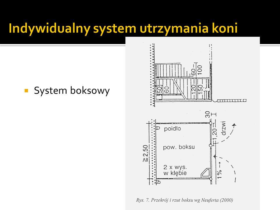 Zalecane wymiary powierzchni boksu (koń o masie ciała 550 kg): Przeciętnie(2 x wysokość w kłębie) 2 Klacze źrebne i ogiery(2,5 x wysokość w kłębie) 2 Długość najkrótszego boku min.(1,5 x wysokość w kłębie) 2 W systemie boksowym wyróżnić można dwie formy utrzymania koni: W boksie znajdującym się w obrębie budynku stajennego W boksie którego drzwi wychodzą na zewnątrz