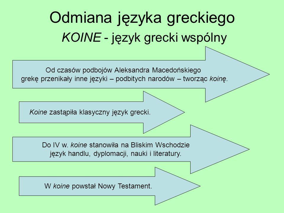 Odmiana języka greckiego KOINE - język grecki wspólny Od czasów podbojów Aleksandra Macedońskiego grekę przenikały inne języki – podbitych narodów – tworząc koinę.