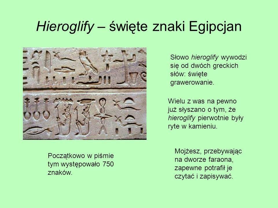 Hieroglify – święte znaki Egipcjan Słowo hieroglify wywodzi się od dwóch greckich słów: święte grawerowanie.
