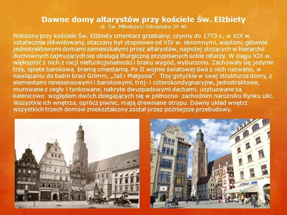 Kamienica pod siedmioma elektorami Haus Zu Sieben Kurfürsten Rynek 8 Jest to jeden z lepiej zachowanych przykładów rozwoju przestrzennego kamienicy gotyckiej przyrynkowej, wchłaniającej, z czasem, tylną parcelę.