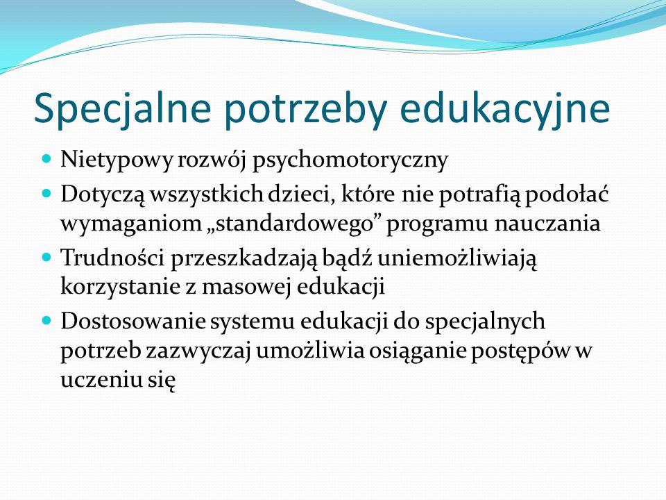 Specjalne potrzeby edukacyjne Nietypowy rozwój psychomotoryczny Dotyczą wszystkich dzieci, które nie potrafią podołać wymaganiom standardowego program