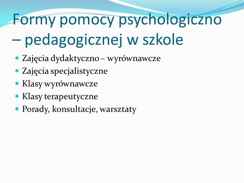 Formy pomocy psychologiczno – pedagogicznej w szkole Zajęcia dydaktyczno – wyrównawcze Zajęcia specjalistyczne Klasy wyrównawcze Klasy terapeutyczne P