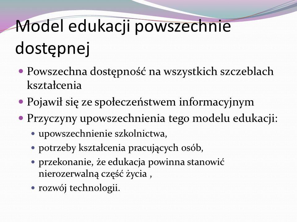 Model edukacji powszechnie dostępnej Powszechna dostępność na wszystkich szczeblach kształcenia Pojawił się ze społeczeństwem informacyjnym Przyczyny