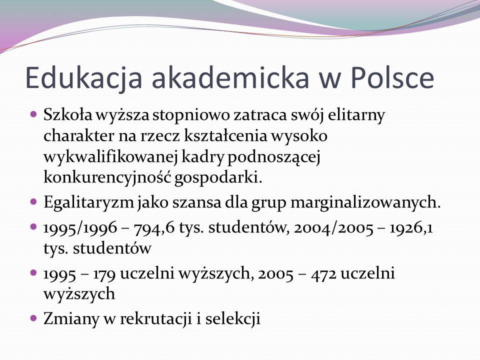 Edukacja akademicka w Polsce Szkoła wyższa stopniowo zatraca swój elitarny charakter na rzecz kształcenia wysoko wykwalifikowanej kadry podnoszącej ko