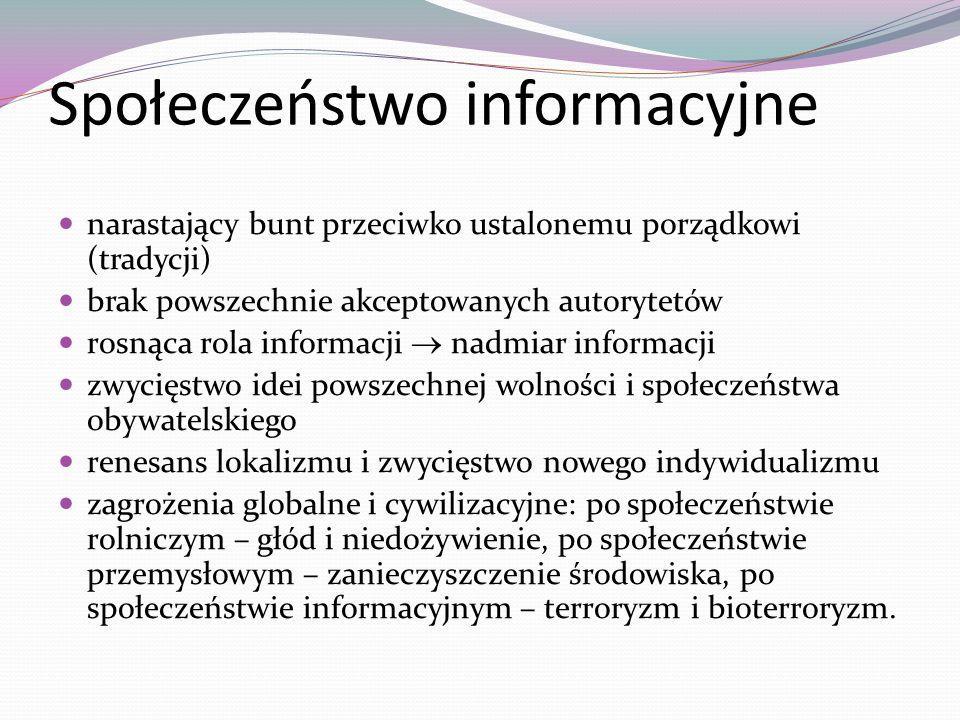 Społeczeństwo informacyjne narastający bunt przeciwko ustalonemu porządkowi (tradycji) brak powszechnie akceptowanych autorytetów rosnąca rola informa