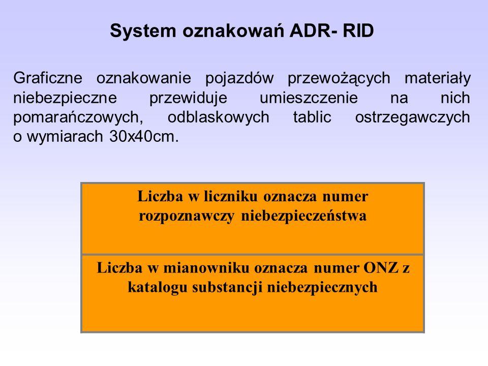 Liczba w liczniku oznacza numer rozpoznawczy niebezpieczeństwa Liczba w mianowniku oznacza numer ONZ z katalogu substancji niebezpiecznych System oznakowań ADR- RID Graficzne oznakowanie pojazdów przewożących materiały niebezpieczne przewiduje umieszczenie na nich pomarańczowych, odblaskowych tablic ostrzegawczych o wymiarach 30x40cm.