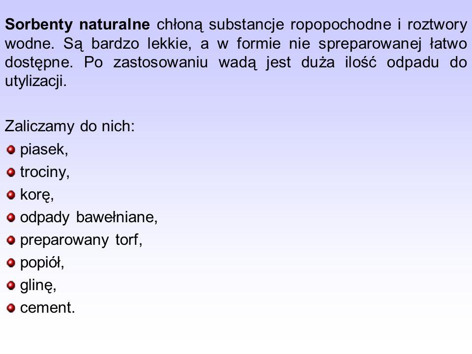 Sorbenty naturalne chłoną substancje ropopochodne i roztwory wodne.