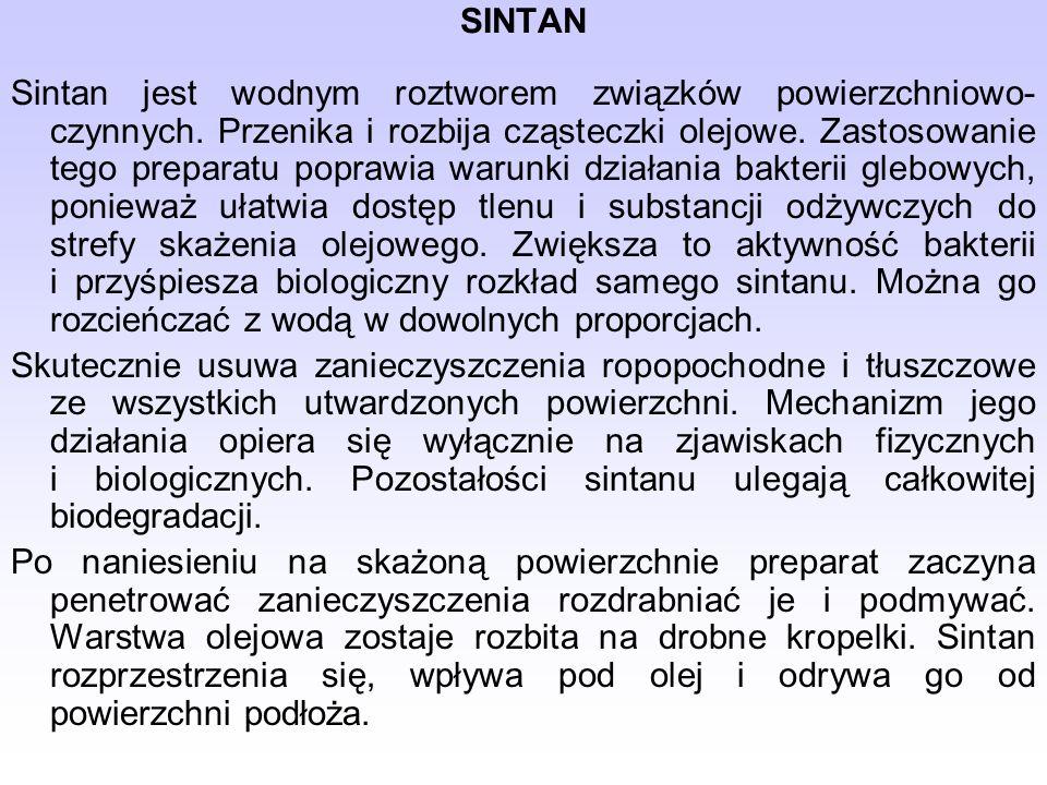 SINTAN Sintan jest wodnym roztworem związków powierzchniowo- czynnych.