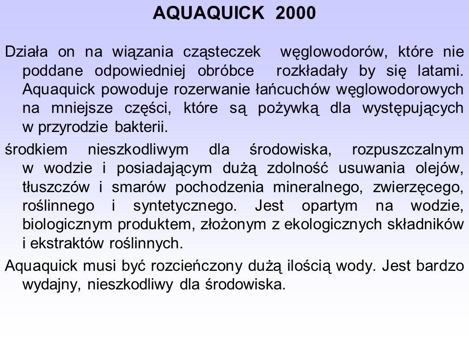AQUAQUICK 2000 Działa on na wiązania cząsteczek węglowodorów, które nie poddane odpowiedniej obróbce rozkładały by się latami.