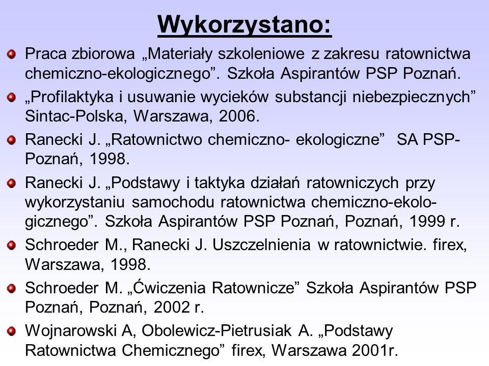 Praca zbiorowa Materiały szkoleniowe z zakresu ratownictwa chemiczno-ekologicznego.