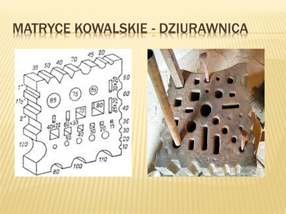 Matrycą kowalską zwaną też dziurownicą jest gruba kwadratowa płyta staliwna z otworami o różnych wymiarach i kształtach z wykrojami na krawędziach.