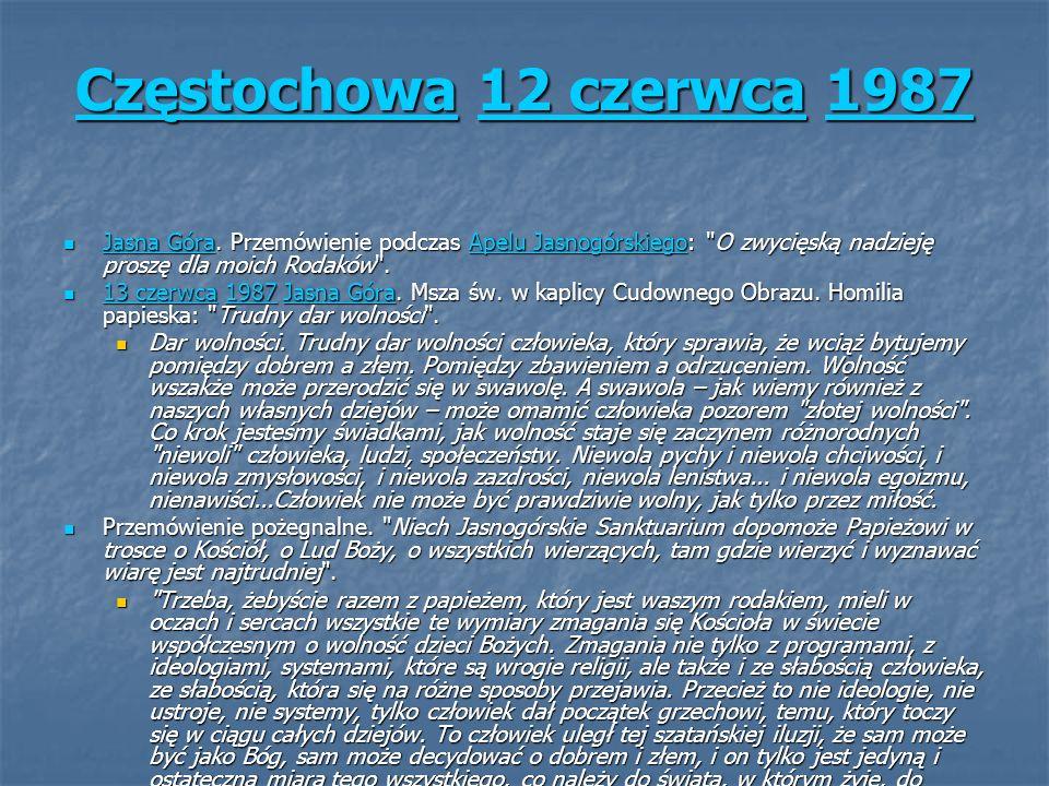 CzęstochowaCzęstochowa 12 czerwca 1987 12 czerwca1987 Częstochowa12 czerwca1987 Jasna Góra. Przemówienie podczas Apelu Jasnogórskiego: