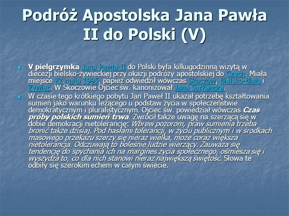 Podróż Apostolska Jana Pawła II do Polski (V) V pielgrzymka Jana Pawła II do Polski była kilkugodzinną wizytą w diecezji bielsko-żywieckiej przy okazji podróży apostolskiej do Czech.