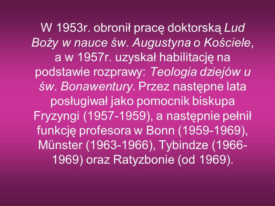W 1953r. obronił pracę doktorską Lud Boży w nauce św. Augustyna o Kościele, a w 1957r. uzyskał habilitację na podstawie rozprawy: Teologia dziejów u ś