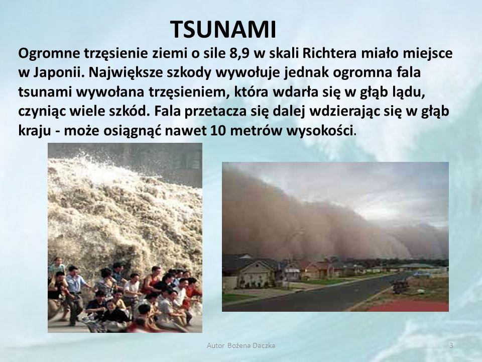 TSUNAMI 3Autor Bożena Daczka Ogromne trzęsienie ziemi o sile 8,9 w skali Richtera miało miejsce w Japonii. Największe szkody wywołuje jednak ogromna f