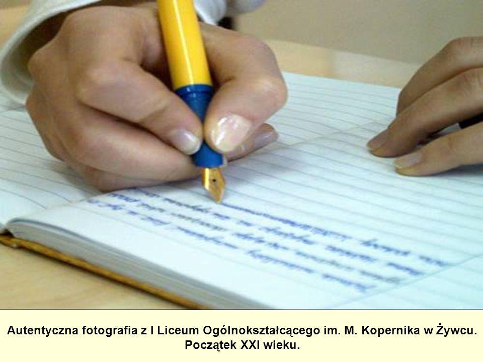 Autentyczna fotografia z I Liceum Ogólnokształcącego im. M. Kopernika w Żywcu. Początek XXI wieku.