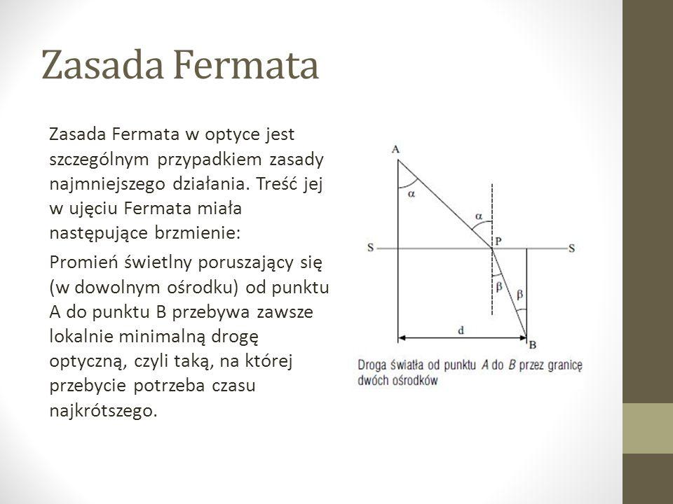 Zasada Fermata Zasada Fermata w optyce jest szczególnym przypadkiem zasady najmniejszego działania.