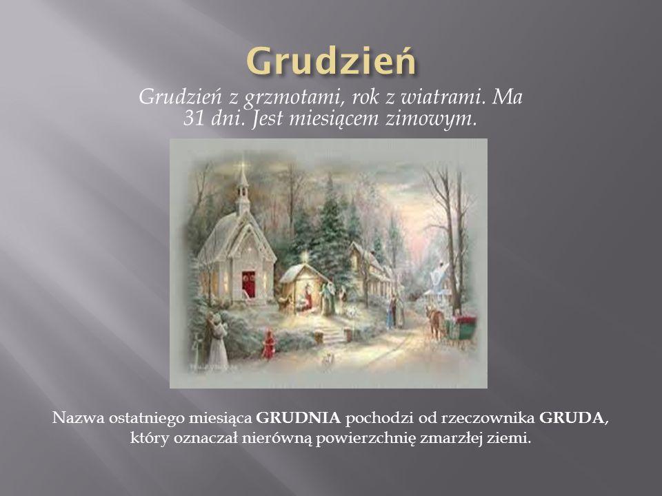 Grudzień z grzmotami, rok z wiatrami. Ma 31 dni. Jest miesiącem zimowym. Nazwa ostatniego miesiąca GRUDNIA pochodzi od rzeczownika GRUDA, który oznacz