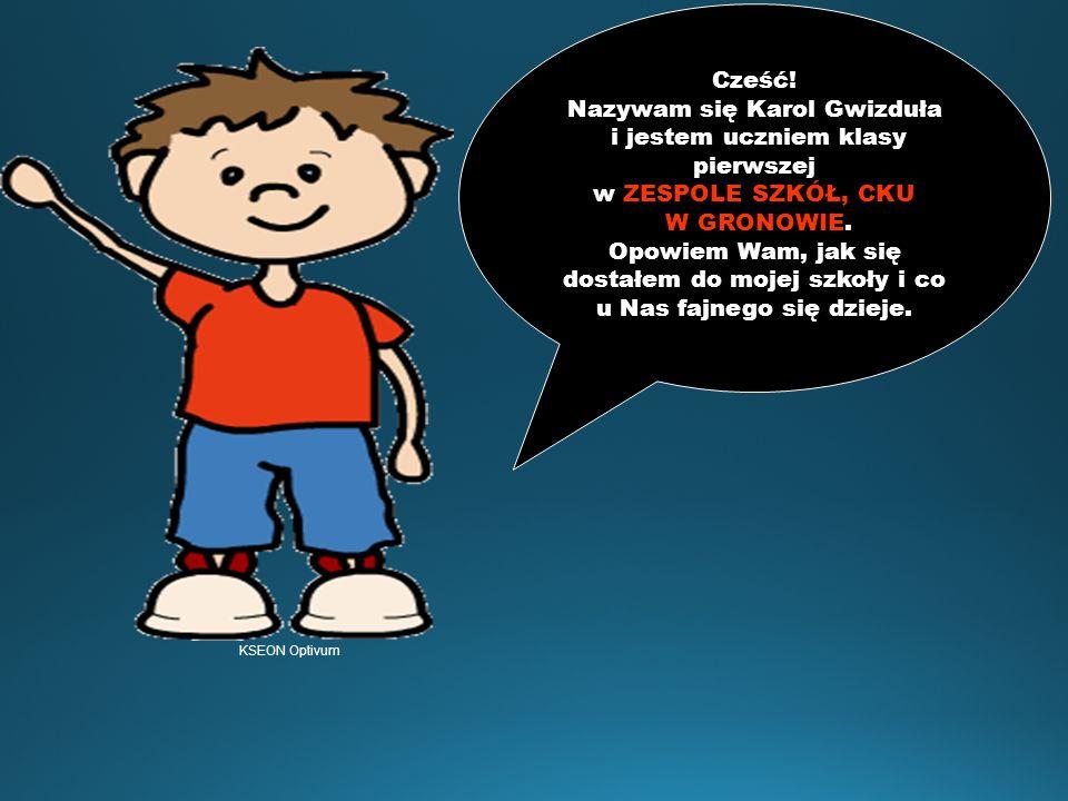 Cześć.Nazywam się Karol Gwizduła i jestem uczniem klasy pierwszej w ZESPOLE SZKÓŁ, CKU W GRONOWIE.