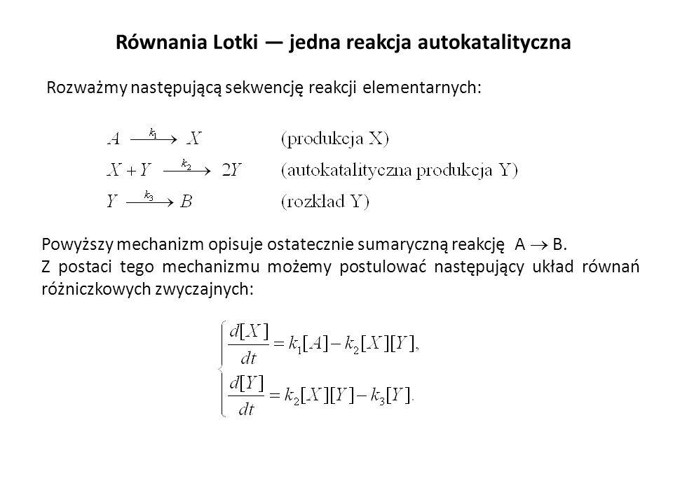 Równania Lotki jedna reakcja autokatalityczna Rozważmy następującą sekwencję reakcji elementarnych: Powyższy mechanizm opisuje ostatecznie sumaryczną