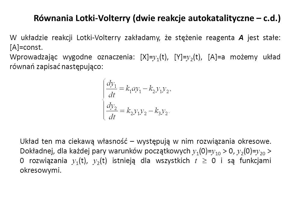 Równania Lotki-Volterry (dwie reakcje autokatalityczne – c.d.) W układzie reakcji Lotki-Volterry zakładamy, że stężenie reagenta A jest stałe: [A]=con