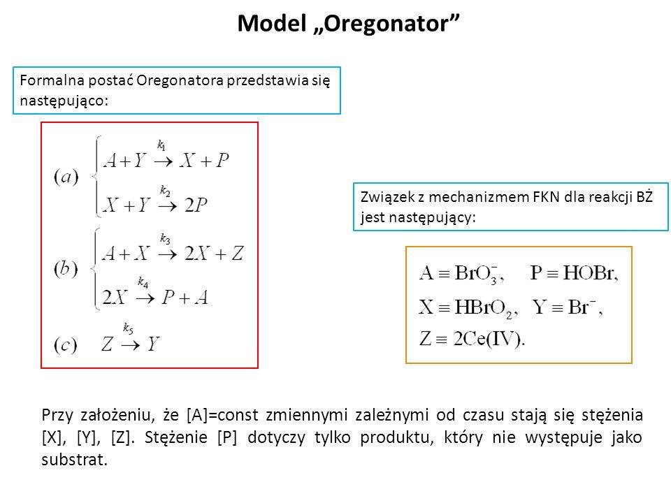 Model Oregonator Formalna postać Oregonatora przedstawia się następująco: Związek z mechanizmem FKN dla reakcji BŻ jest następujący: Przy założeniu, ż