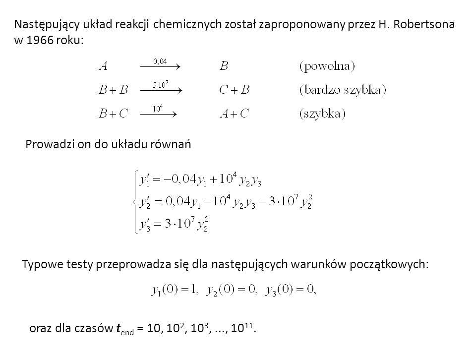 Następujący układ reakcji chemicznych został zaproponowany przez H. Robertsona w 1966 roku: Prowadzi on do układu równań Typowe testy przeprowadza się