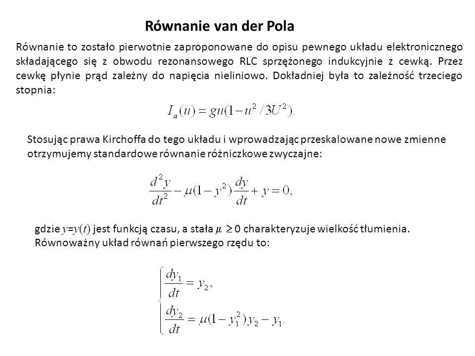 Równanie van der Pola gdzie y = y(t) jest funkcją czasu, a stała 0 charakteryzuje wielkość tłumienia. Równoważny układ równań pierwszego rzędu to: Rów