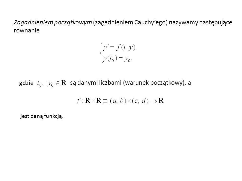 Zagadnieniem początkowym (zagadnieniem Cauchyego) nazywamy następujące równanie gdzie są danymi liczbami (warunek początkowy), a jest daną funkcją.