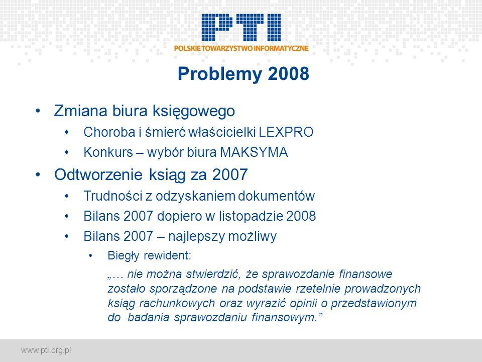 www.pti.org.pl Problemy 2008 Zmiana biura księgowego Choroba i śmierć właścicielki LEXPRO Konkurs – wybór biura MAKSYMA Odtworzenie ksiąg za 2007 Trud