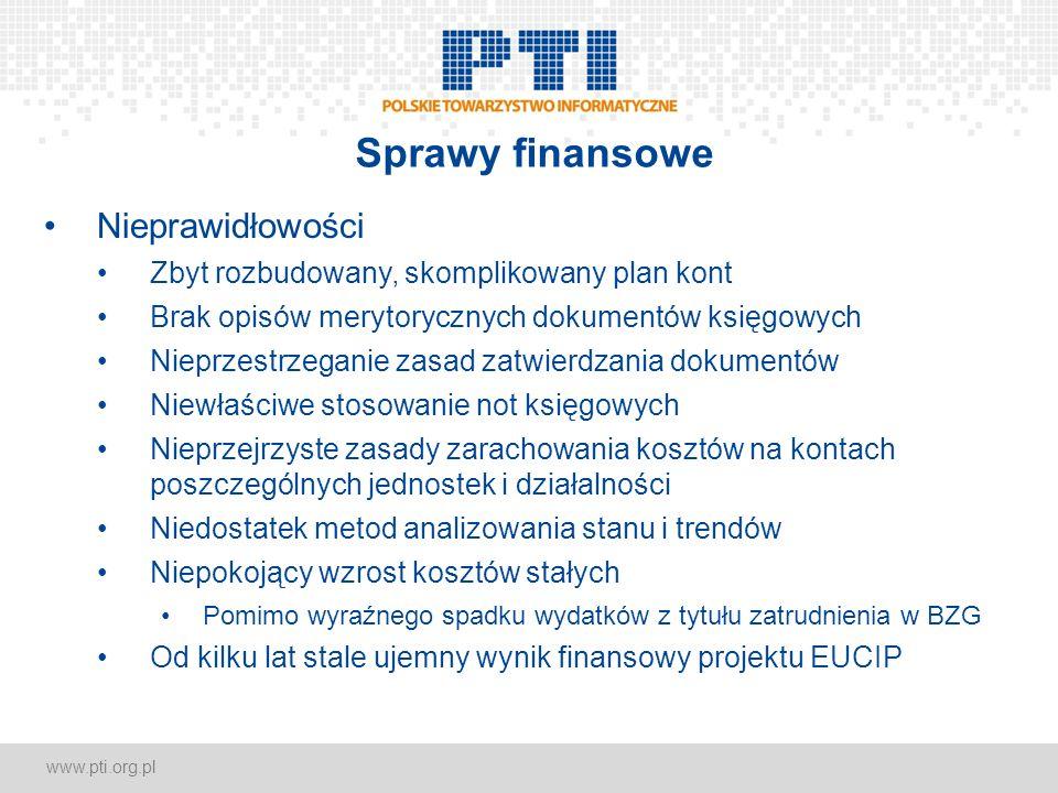 www.pti.org.pl Sprawy finansowe Nieprawidłowości Zbyt rozbudowany, skomplikowany plan kont Brak opisów merytorycznych dokumentów księgowych Nieprzestr