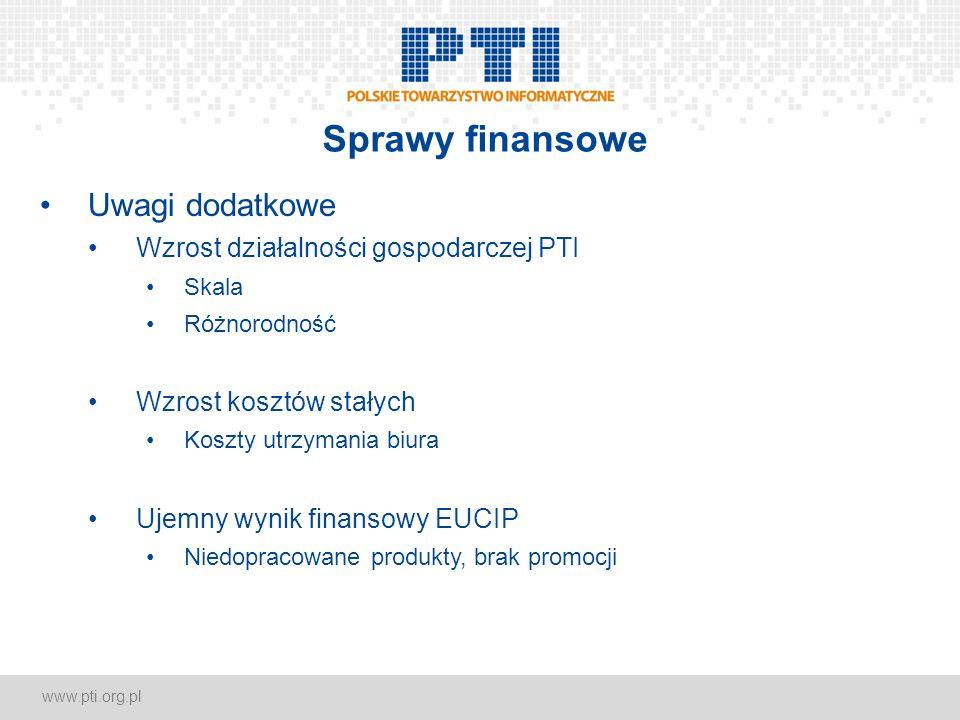 www.pti.org.pl Sprawy finansowe Uwagi dodatkowe Wzrost działalności gospodarczej PTI Skala Różnorodność Wzrost kosztów stałych Koszty utrzymania biura