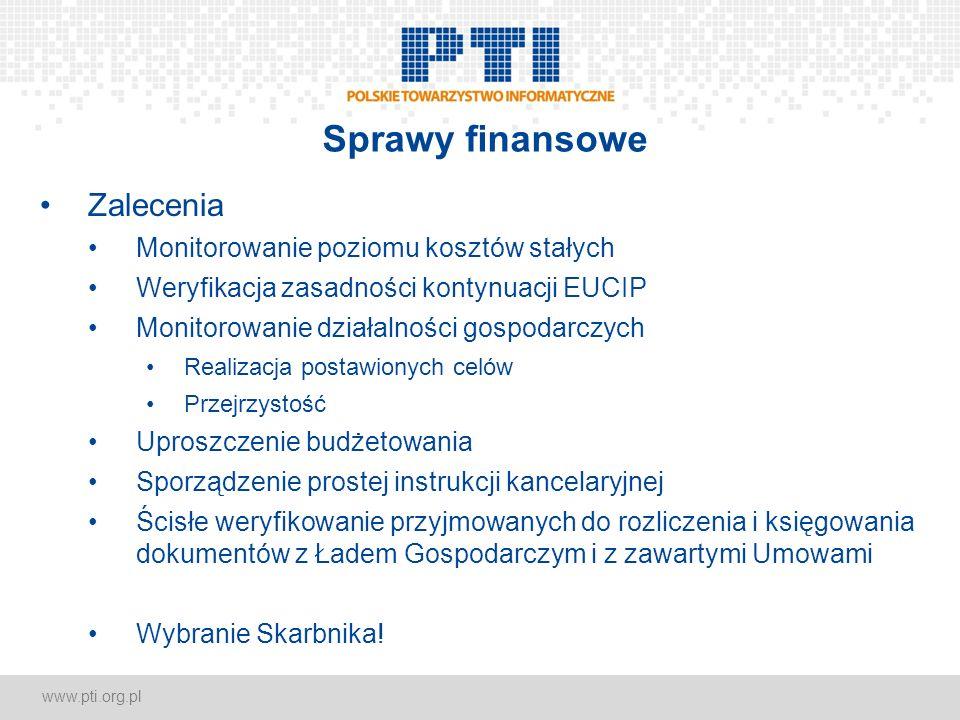 www.pti.org.pl Sprawy finansowe Zalecenia Monitorowanie poziomu kosztów stałych Weryfikacja zasadności kontynuacji EUCIP Monitorowanie działalności go
