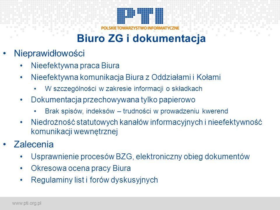 www.pti.org.pl Biuro ZG i dokumentacja Nieprawidłowości Nieefektywna praca Biura Nieefektywna komunikacja Biura z Oddziałami i Kołami W szczególności